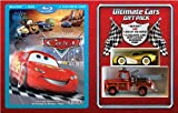 Disney Cars Gift Set (Combo Pack with DVD) [Blu-ray] (Region 1 !!) + Exclusive Golden Lightning McQueen and Ransburg Paint Mater / Hook