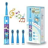 Musikalische Elektrische Zahnbürste für Kinder, Wiederaufladbare Intelligent Karikatur Zahnbürste für Kinder Alter 3-12 mit 2 Minuten Timer,3 Modi, 4 Bürstenköpfe(Blau)