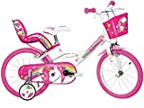 Dino Bikes 164R-UN Kinderfahrrad Fahrrad, Weiß/Pink, 16 Zoll