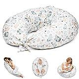 Stillkissen Schwangerschaftskissen zum Schlafen Seitenschläferkissen - Lagerungskissen für Baby XXL Pregnancy Pillow Oeko-Tex (1. Weiß mit Eulen und Kaninchen, 165 x 70 cm)