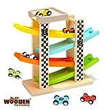 The Wooden Toy Factory – klick-Klack Autorennbahn mit *6* Autos - Inklusive Parkplatz - Keine Montage Erforderlich