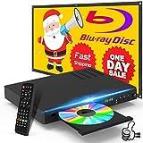 Blu Ray Disc Player mit HDMI AV Kabel, 1080P, USB, DTS, Sound Effekt integrierte, PAL NTSC Koaxial Blu Ray Region B/2, DVD Region Free