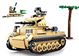 Sluban Klemmbausteine SL95562, WWII - Leichter Dt. Panzer (356 Teile) [M38-B0691], Spielset , Klemmbausteine, Soldaten, mit Spielfigur, Army WWII, Multi Color
