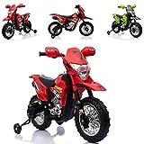 ES-TOYS Kinderfahrzeug - Elektro Cross Kindermotorrad - 6V4,5Ah - Musik - 912 (Rot)