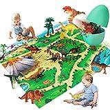Pickwoo Dinosaurier Spielzeug Set Dinosaurier Figur & Prähistorische Welt Spielmatte & Bäume, 28PCS Realistische Dinosaurier ,Jurassic World Dinosaurier Spielzeug Groß für Kinder Jungen Mädchen