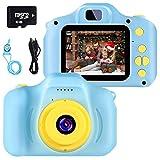 Kinder Digital Kamera Spielzeug Kleinkind Kamera Spielzeug 2 Zoll HD-Bildschirm 1080P 32 GB TF-Karte Jungen und Mädchen Geschenke Spielzeug für 3 bis 12 Jahre alte (blau)