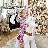 PonyCycle Offizielle Klassisch U-Serie Reiten auf Einhorn Spielzeug Plüsch Lauftier Weiß Einhorn für 3-5 Jahre Kleine Größe U304