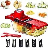 NAUDILIFE Gemüseschneider Küchenzubehör Zwiebelschneider Multifunktions Lebensmittelzerkleinerer Manuell 6 Klingen Spiralisierer kartoffelschneider Würfelschneider