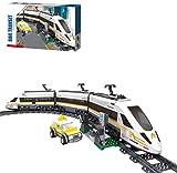 City Electric Train Building Set mit Gleis, Hochgeschwindigkeitszug mit Motor, 641-teilige Bausteine kompatibel mit Lego (Revival Train)