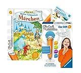 tiptoi Ravensburger Set: Meine schönsten Märchen (Pappbilderbuch) + 00801 Der Stift - mit Aufnahmefunktion + 1x Create Sticker