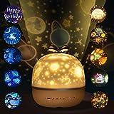 Sternenhimmel Projektor Lampe Kinder LED Nachtlicht, Tdbest Drei Lichtmodi 10 Projektionsfilmen 360° Rotierend Sternenlicht für Geburtstage, Halloween, Weihnachtsgeschenke, Kinderzimmer Dekoration