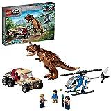 LEGO 76941 Jurassic World Verfolgung des Carnotaurus Spielzeug mit Helikopter und Pickup für Jungen und Mädchen ab 7 Jahren Dinosaurier Geschenkidee