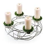 Weihnachtlicher & Moderner Metallkranz/Adventskranz – Edelstahl Weihnachtskranz – Hochwertiger Kerzenhalter/Silberkranz – Weihnachten/Weihnachtsdeko (Ø 35cm)