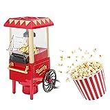 HeißLuft-Popcorn-Popper - Retro Kompakt Elektrisch Mini Popcorn Maker Automatischer Popcorn Popper Popcornmaschine mit Wagen & MesslöFfel für Party Film Geburtstagsgeschenk 1200W(EU)