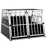 Cadoca Hundetransportbox XXL robust verschließbar aus Aluminium Autotransportbox Tiertransportbox 97x90x70cm