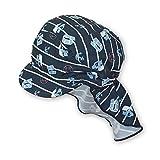 Sterntaler Unisex Schirmmütze mit Nackenschutz und Bindebändern, Alter: 5-6 Monate, Größe: 43, Blau (Marine)