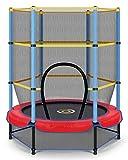 CAMBIVO Trampolin Kinder, Trampolin Indoor Klein mit verschließbares Sicherheitsnetz 139cm, Kindertrampolin Rebounder für Fitness, Jumping, Sport, Kleinkind, Installationsanleitung
