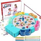 StillCool Angelspiel Angeln Brettspiel Game Set mit Musik Pädagogisches Spielzeug 21 Fisch 4 Angelruten Heißschrumpfschlauch für Kinder von 3–5 Jahren (Blau)