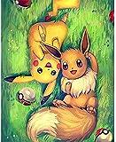 ACANDYL Malen nach Zahlen Pokemon DIY Kit für Kinder Erwachsene Leinwand Acrylgemälde Kunst Handwerk Zuhause Wanddekoration Pikachu 40,6 x 50,8 cm