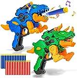 2 Pack Electric Blaster Guns Spielzeug für Jungen-Transformierende Dinosaurierspielzeug mit 20 Schaumkugeln Darts für Nerf-Partyzubehör-Hand-Guns Set mit LED-Licht für 4, 5, 6, 7, 8 Jahre alte Kinder