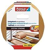 tesa Verlegeband extra stark klebend - Doppelseitiges Klebeband zum Verlegen von Teppich und PVC-Belag - doppelseitig klebend - 25 m x 50 mm
