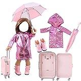 J-Love 43cm Puppenkleidung Reiseset Regenmantel/Regenschirm/Regenstiefel/Koffer für 18-Zoll-Mädchenpuppen