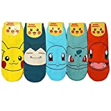 Pokemon Go Japanisch Animation Charakter Knöchel Socken 5 Paaren - Pikachu, Ivysaur, Charmander, Snorlax, Squirtle Sneakersocken