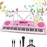 RenFox Klaviertastatur 61 Leuchttasten Elektronische Klaviertastatur Einsteiger Tragbarer Elektronischer Tastatur mit Ständer & Mikrofon, Perfektes Geschenk für Jungen und Mädchen