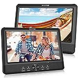 WONNIE 2 10.5 Zoll Tragbarer DVD Player Auto Zwei Monitore Player mit Leistungsstarke Stereo Lautsprechern, 1024 * 600 HD Kopfstützenhalterung Dual Bildschirm, USB/SD/AV IN&Out(2 DVD-Spieler)