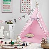 Kinder-Spielzelt Tipi Kinderzelt aus 100% Naturmaterialien; Kinderzimmer Indianer-Zelt aus Baumwolle & Holz für Drinnen & Draußen (Pink)