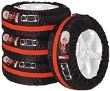 UNITEC 75555 Reifentaschen-Set, Reifenschutzhülle, 4-teilig, wasserabweisend, waschbar, schwarz-rot, für sauberen Transport und sichere Aufbewahrung