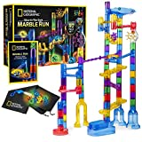 National Geographic Glowing Marble Run – 80 Piece Construction Set with 15 Glow-in-The-Dark Glass Marbles, Mesh Storage Bag & Marble Pouch, Great Creative Stem Toy for Girls & Boys