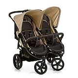 Hauck Roadster Duo SLX Geschwister- und Zwillingskinderwagen bis 36 kg für Babys und Kleinkinder ab Geburt, nebeneinander, schmal, schnell faltbar, große Räder, schwarz beige