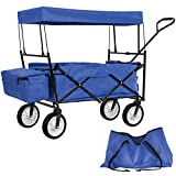 TecTake Faltbarer Bollerwagen mit Dach inkl. Hecktasche und extra Tragetasche - Diverse Farben - (Blau | Nr. 402316)