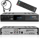 Anadol HD 222 Plus HD HDTV digitaler Satelliten-Receiver (HDTV, DVB-S2, HDMI, 2X USB 2.0, Full HD 1080p, YouTube) [vorprogrammiert für Astra Hotbird Türksat ] inkl. HDMI Kabel – schwarz