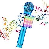 BlueFire Karaoke Mikrofon, Bluetooth Mikrofon Kinder, Tanzen LED Lichter Drahtlose Tragbares Microphon mit Lautsprecher Aufnahme für Erwachsene und Kinder, Kompatibel mit Android IOS PC (Blau)