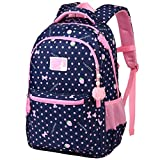 Vbiger Rucksack Mädchen Schulrucksack Große Rucksäcke für Mädchen Wasserdicht Kinderrucksack für mädchen 3-6 Klasse X-Blau