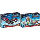 PLAYMOBIL DreamWorks Dragons 70727 Dragon Racing: Hicks und Ohnezahn, Mit Lichtmodul, Ab 4 Jahren & DreamWorks Dragons 70728 Dragon Racing: Astrid und Sturmpfeil, Ab 4 Jahren