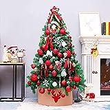JYHZ Weihnachtsdekorationen, künstliche Weihnachtsbaumdekorationen, Fichte angelenkter Weihnachtsbaum mit Metallhalterungen, geeignet for den Innenhof (Farbe: rot, Größe: 6 Fuß (180 cm))
