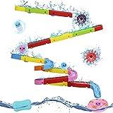 Nuheby Badespielzeug Badewannenspielzeug Murmelbahn Badewanne-38 Stück Wasserspielzeug Kinder mit Saugnäpfe,BAU-Puzzle Autorennbahn Badespaß Geschenk Mädchen Junge 3 4 5 6 Jahre