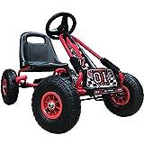 Kiddo RG0209 Racer Design Kinder Go-Kart Rutschauto mit Pedalen, Verstellbarer Sitz, Gummireifen – geeignet für 4 bis 8 Jahre, rot