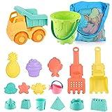 Strandspielzeug für Kleinkinder, Strand Spielzeug Kleinkinder Outdoor Strand Sand Spielzeug Set mit Auto Eimer Schloss Formen und Netztasche Weichem Kunststoff (17-teiliges Set)