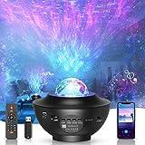 ZOVER LED-Sternenhimmel Projektor,Rotierender Wasserwellen-Sternprojektor,Ferngesteuertes Nachtlicht,Farbwechselnder Musikplayer mit Bluetooth,Geeignet für Baby-Erwachsenenpartys