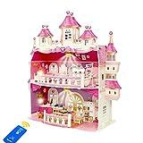 Puppenhaus, Groß 2 Spielebenen Puppen Häuser mit Möbel und Zubehör für Mädchen, Kinder Spielzeug Dollhouse mit LED licht und Puppen für Kinderzimmer und Schlafzimmer, für Mädchen