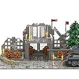WWEI WW2 Militär Battle Szene für SWAT Polizei Minifiguren Soldaten, 1427 Teile Battle Ruinen Architektur Set Kompatibel mit Lego-Ohne Tank
