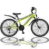 Talson 24 Zoll Mountainbike Fahrrad mit Gabelfederung & Beleuchtung 21-Gang Shimano FSTR Grün