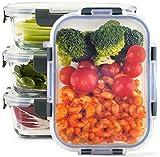 Zoë&Mii Lebensmittelbehälter aus Glas 4-er Set 880 ml - Hochwertige und luftdichte Glasschalen BPA-frei - Frischhaltedosen Vorratsdosen mit Smart Lock Deckel - Meal Prep, Glasschüssel mit Deckel