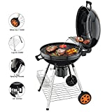 TACKLIFE Holzkohle Grill, Kugelgrill 91 * 76 * 56 cm, ø 57cm mit 4 Dicke Beine, Rundgrill mit Extra...