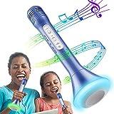 RenFox Bluetooth Mikrofon, Portable Drahtlose Handmikrofon Lautsprecher Player Kabellos Mikrofon, Stereo Player für Musik Spielen, Mikrofon Kinder (Blau)