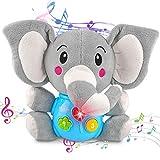 aovowog Baby Spielzeug ab 6 7 8 9 Monate,Elefant Plüsch Spielzeug Kinderspielzeug Babyspielzeug,Lernspielzeug Musikspielzeug mit Sound und Licht,Geschenk für Kinder Jungen Mädchen